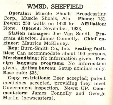 1940-41 listing for WMSD with Joe Van Sandt as station manager.